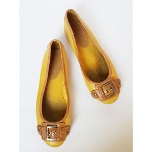Gianni Bini Banana Yellow Flats with Buckle on Toe